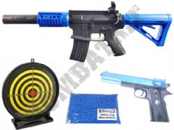 US Military BB Gun Bundle Spring M4 CQB & 1911 Pistol + Pellets & Target Set 2 Tone Blue Black